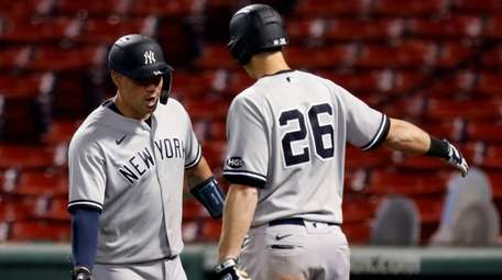 The Yankees' Gary Sanchez celebrates his solo home