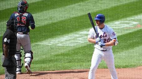 Mets designated hitter Pete Alonso reacts to umpire