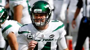 Sam Darnold #14 of the Jets during a