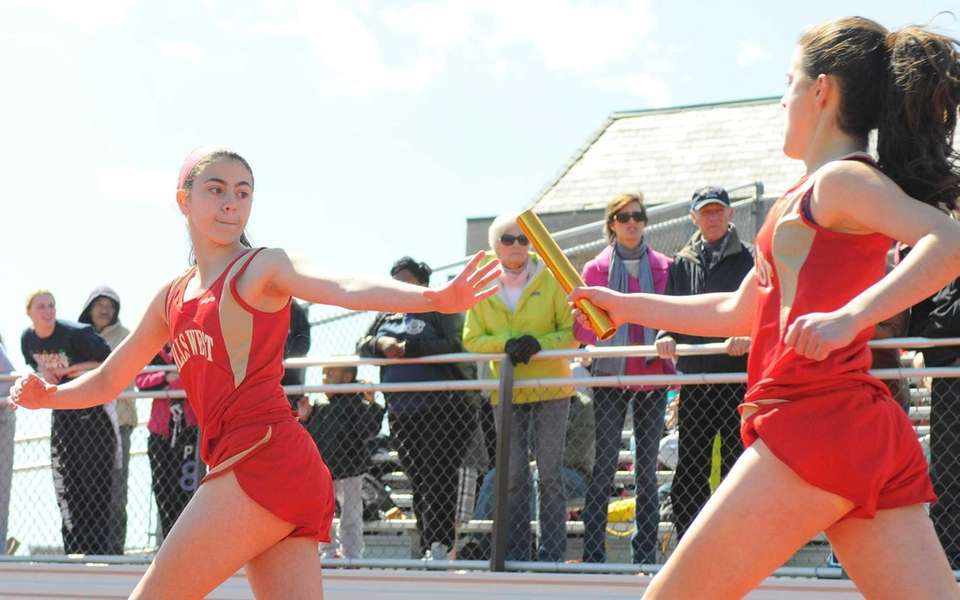 Half Hollow Hills West sophomore Arianna Sabatino, left,