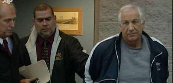 Jerry Sandusky, right, 69, was convicted of 45