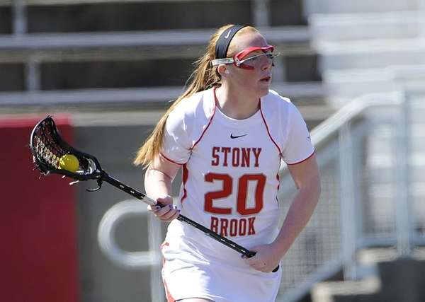 Stony Brook attacker Claire Petersen controls the ball