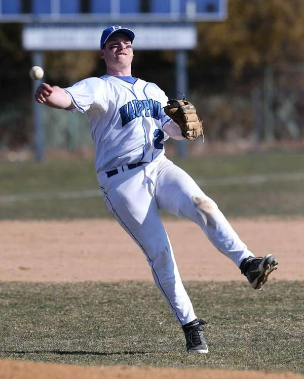 Hauppauge shortstop Dom Confredo makes the throw to