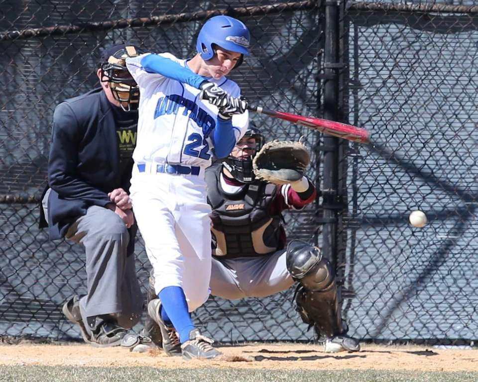 Hauppauge's Nick Fanti connects with the ball against