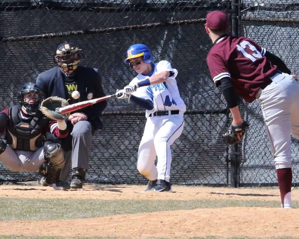 Hauppauge's PJ Contreras hits a triple against Kings