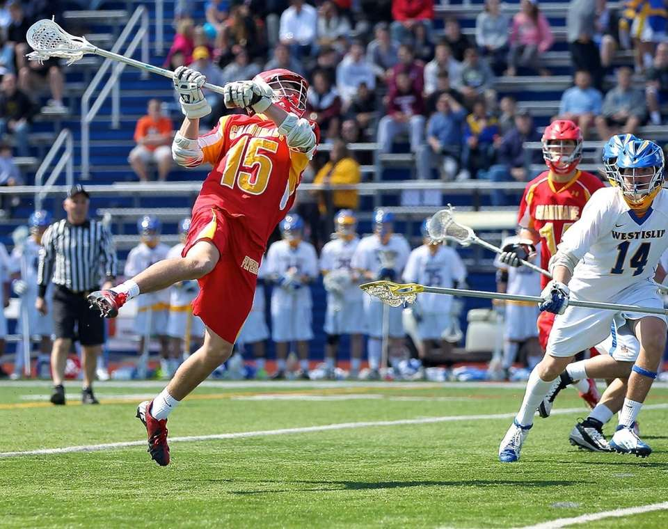 Chaminade's John McDaid shoots on the West Islip