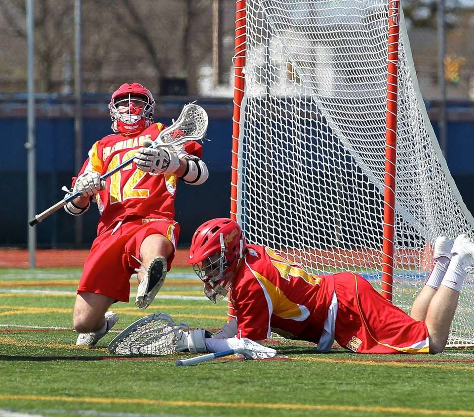 Chaminade's Brian Pratt makes a kick save on