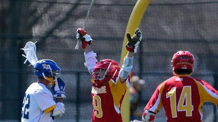 Chaminade's James Roberts celebrates his goal in the