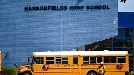 A school bus outside Harborfields High School in