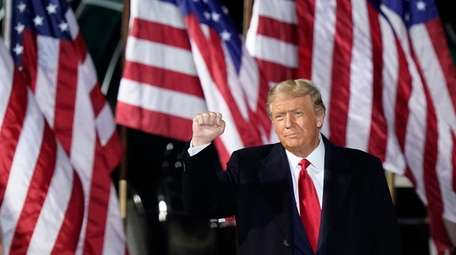 President Donald Trump at a campaign rally on