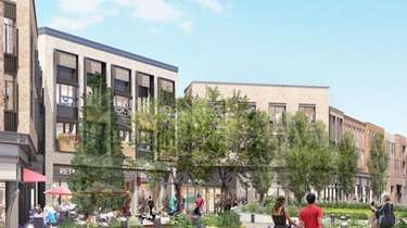 A rendering of the proposed mixed-use Heritage Village