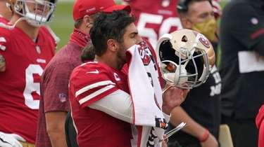 San Francisco 49ers quarterback Jimmy Garoppolo reacts on