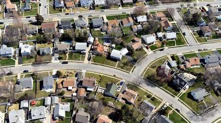 Aerial views of homes in Levittown, Nassau County.