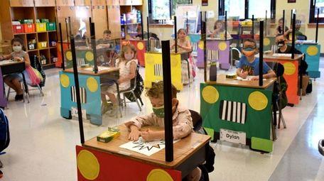 Desk shields at Frank J. Carasiti Elementary School