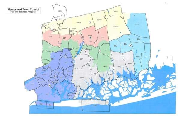 The map shows Hempstead Democrats' counter-proposal to the
