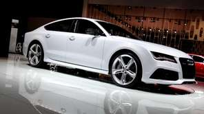 An Audi A7 sedan sits on display at