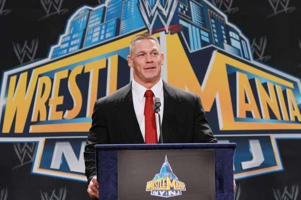 World Wrestling Entertainment personality John Cena speaks at