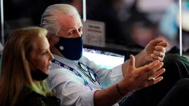 Pat Riley, president of the Miami Heat, watches
