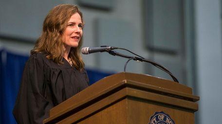 Judge Amy Coney Barrett speaks during the University