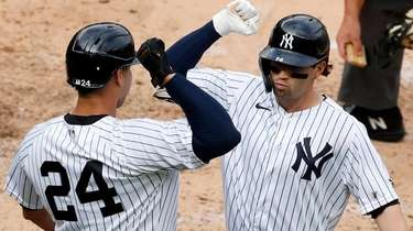 Tyler Wade of the Yankees celebrates his fifth-inning