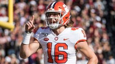 Clemson quarterback Trevor Lawrence celebrates a touchdown against