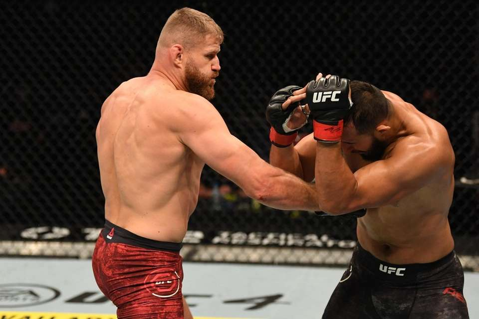 Jan Blachowicz of Poland punches Dominick Reyes in
