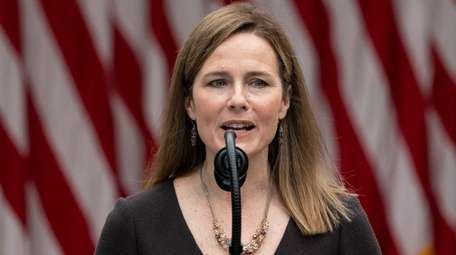 Amy Coney Barrett speaks after President Donald Trump
