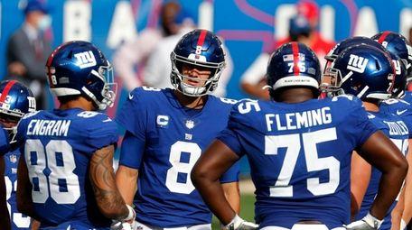 Daniel Jones #8 of the Giants looks on