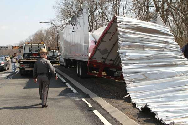 A tractor-trailer hit the Cantiague Rock Road bridge