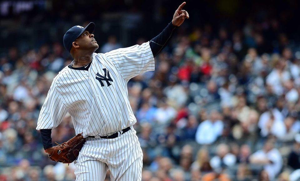 Yankees pitcher CC Sabathia on the mound in