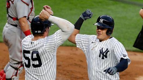Gio Urshela #29 of the Yankees celebrates his