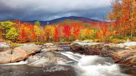 Fiery autumn foliage in the Adirondacks.