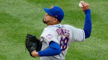 Dellin Betances of the Mets pitches against the