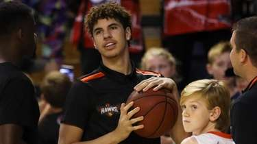 Lamelo Ball is seen on court after the