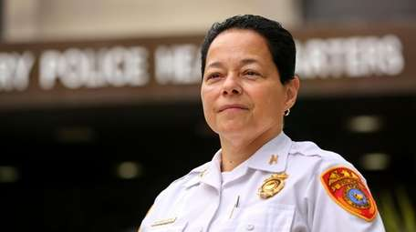 Suffolk County Police Inspector Milagros Soto outside