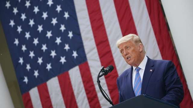 President Donald Trump did not take questions about
