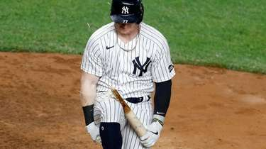 Clint Frazier #77 of the Yankees breaks his