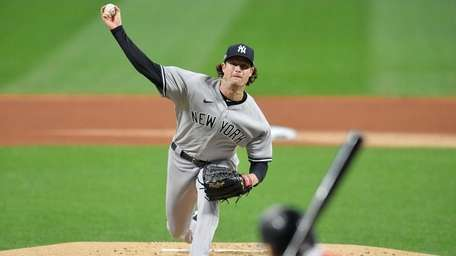 Yankees starting pitcher Gerrit Cole pitches to Francisco