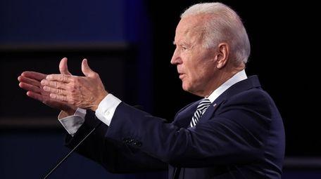 Democratic presidential nominee Joe Biden makes a point
