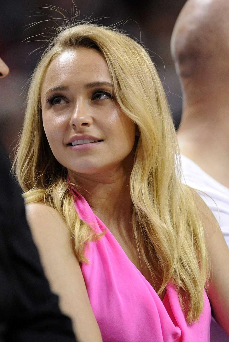 Actress Hayden Panettiere watches the Miami Heat play
