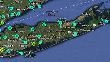Weather stations show temperatures around Long Island. (April