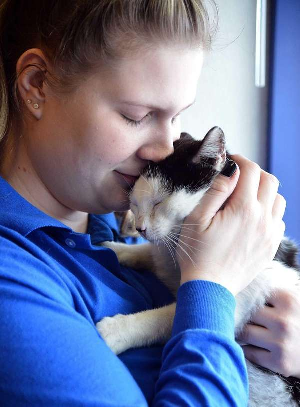 Jackson snuggles with North Shore Animal League America's