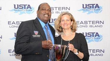 Daniel Burgess, with Nassau County Executive Laura Curran,