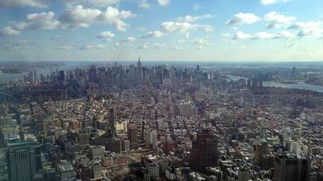 The Manhattan skyline is seen from the One