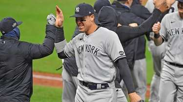Aaron Judge of the Yankees celebrates with a