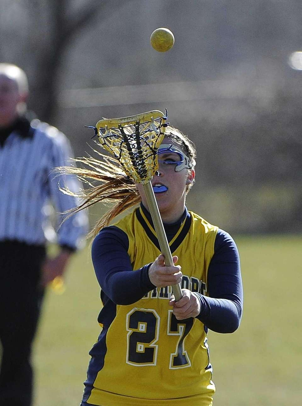 Northport attacker/midfielder Emily Columbus catches the ball against