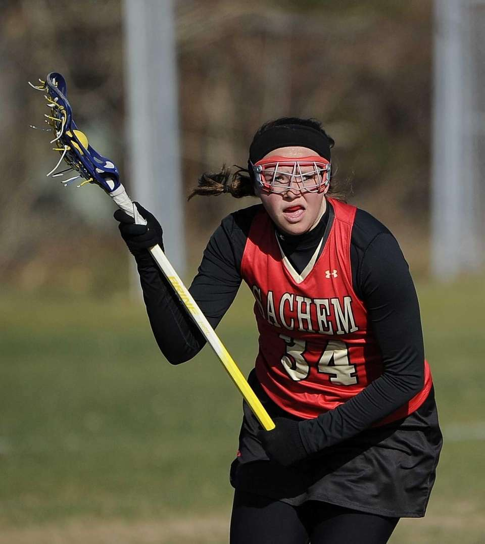 Sachem East's Karyn Ryan controls the ball against