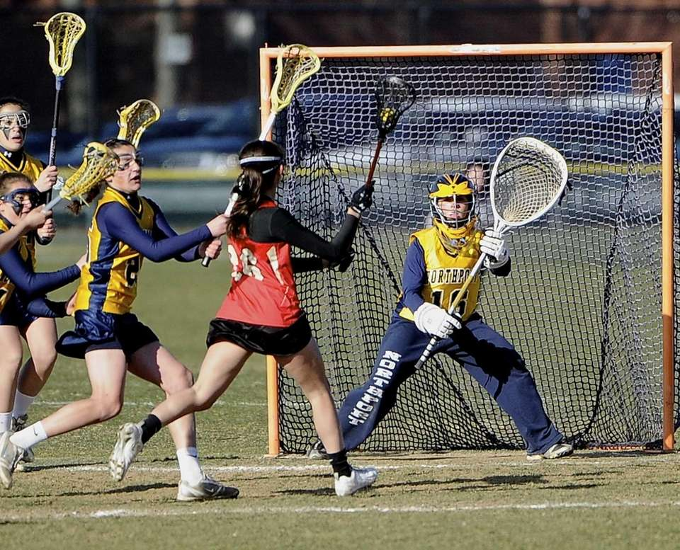 Northport goalkeeper Kristen Brunoforte guards the goal against