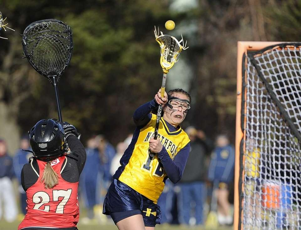 Northport midfielder Allie Pavinelli shoots past Sachem East