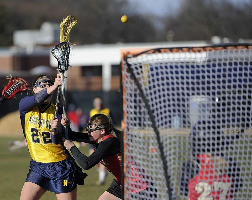 Northport midfielder Dorrien Van Dyke shoots over Sachem